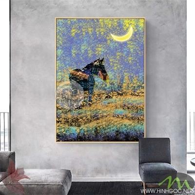 Tranh ngựa đen và ánh trăng - PEN97