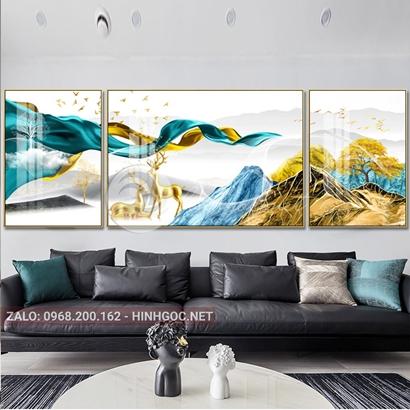 Tranh bộ 3 bức ghép, đôi hươu, dải vân, dãy núi sắc màu trừu tượng-PLT-S-1164