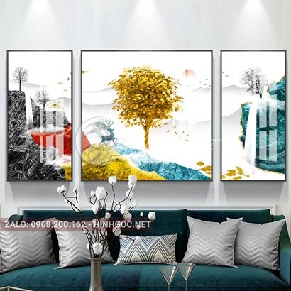 Tranh bộ 3 bức ghép, cây tuần lộc, hươu, dãy núi sắc màu trừu tượng-PLT-S-1165