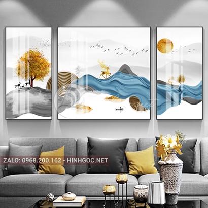 Tranh bộ 3 bức ghép, hươu đứng  trên dải vân, cây dãy núi sắc màu trừu tượng-PLT-S-1166
