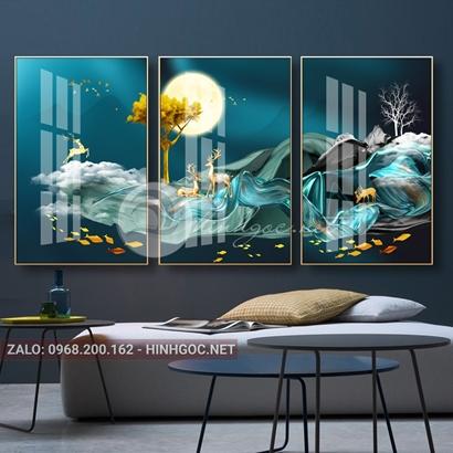 Tranh bộ 3 bức ghép, hươu đứng trên dải vân, cá, cây trừu tượng-PLT-S-1170
