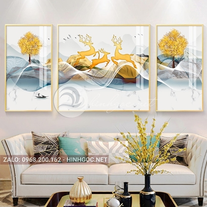 Tranh bộ 3 bức ghép, dải vân sắc màu, cây, chim trừu tượng-PLT-S-1188