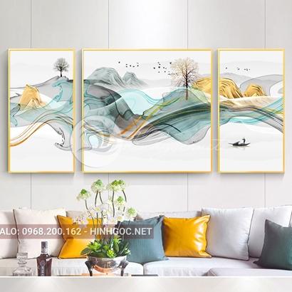 Tranh bộ 3 bức ghép, hươu đứng trên dải vân sắc màu, cây, chim trừu tượng-PLT-S-1189