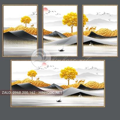 Tranh bộ 3 bức ghép, hươu đứng trên hòn núi đá, cây, dải vân trừu tượng-PLT-S-1192