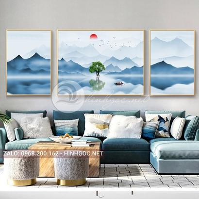 Tranh bộ 3 bức ghép, dãy núi xanh trùng điệp, cây, thuyền trên sông-PLT-S-1195