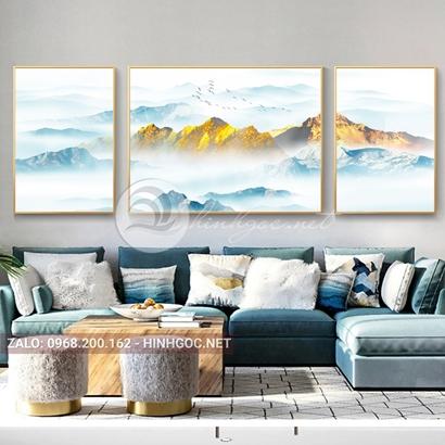 Tranh bộ 3 bức ghép, dãy núi trùng điệp, cây, thuyền trên sông trừu tượng-PLT-S-1198