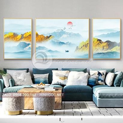 Tranh bộ 3 bức ghép, dãy núi trùng điệp, cây, thuyền trên sông trừu tượng-PLT-S-1199