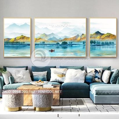 Tranh bộ 3 bức ghép, dãy núi trùng điệp, cây, thuyền trên sông trừu tượng-PLT-S-1200