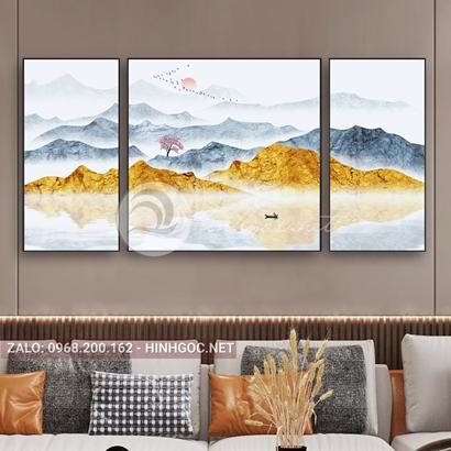 Tranh bộ 3 bức ghép, dãy núi trùng điệp, cây, đàn chim, thuyền trên sông trừu tượng-PLT-S-1202