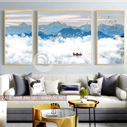 Tranh bộ 3 bức ghép, dãy núi trùng điệp,mây, núi, chim trừu tượng-PLT-S-1203