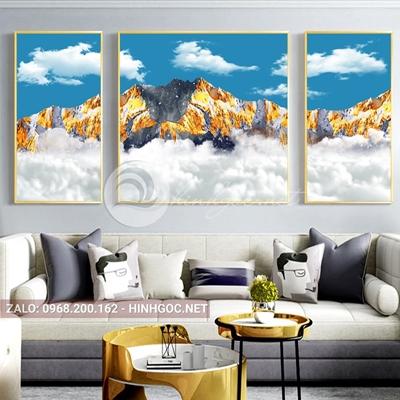 Tranh bộ 3 bức ghép, dãy núi trùng điệp,mây, núi, chim trừu tượng-PLT-S-1204