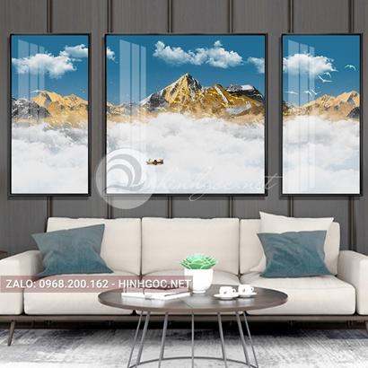 Tranh bộ 3 bức ghép, dãy núi trùng điệp,mây, núi, chim trừu tượng-PLT-S-1205