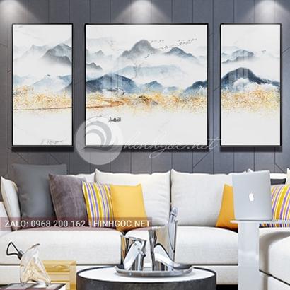 Tranh bộ 3 bức ghép, dãy núi trùng điệp, núi, chim, sông nước trừu tượng-PLT-S-1206