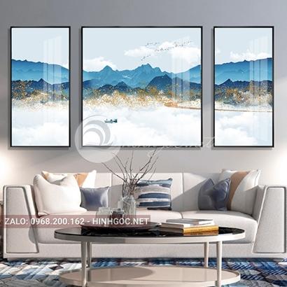 Tranh bộ 3 bức ghép, dãy núi trùng điệp,mây, núi, chim trừu tượng-PLT-S-1207