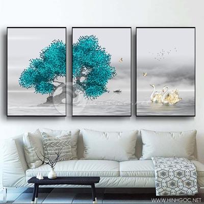 Tranh bộ 3 bức cây xanh và đôi chim thiên nga-PLT-S-1216