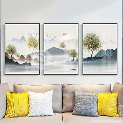 Tranh bộ 3 bức trừu tượng dải vân cây và hươu-PLT-S-1274