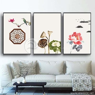 Tranh bộ 3 bức hoa sen và hình họa tiết-PLT-S-1329