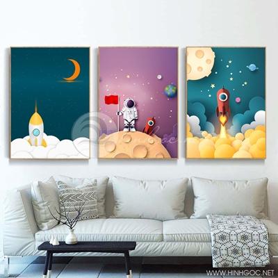 Tranh bộ 3 bức hình siêu nhân và mặt trăng-PLT-S-1350