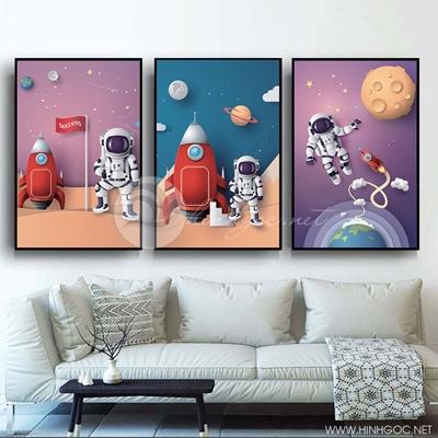 Tranh bộ 3 bức người máy trên vũ trụ hành tinh-PLT-S-1356