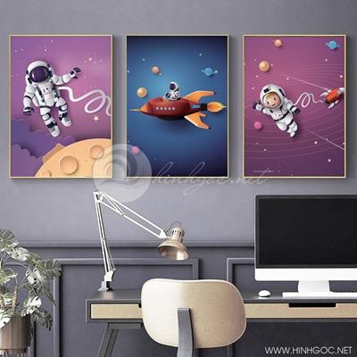Tranh bộ 3 bức người máy trên vũ trụ hành tinh-PLT-S-1357