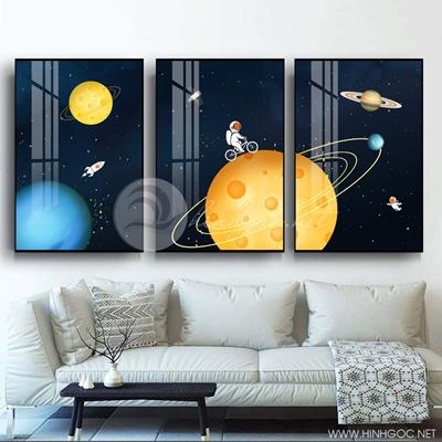 Tranh bộ 3 bức người máy trên vũ trụ hành tinh-PLT-S-1358
