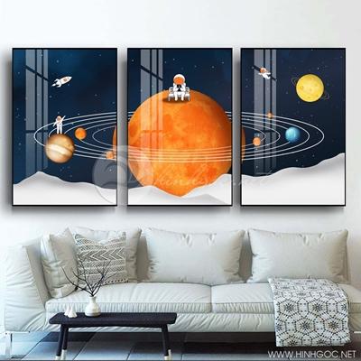 Tranh bộ 3 bức người máy sống trên vũ trụ hành tinh-PLT-S-1359