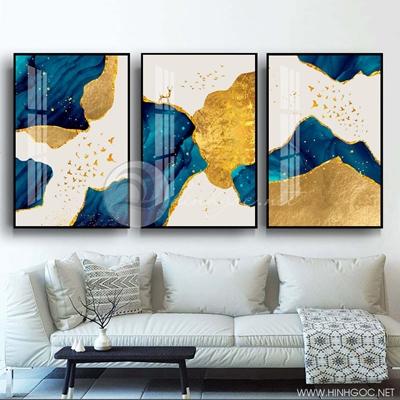Tranh bộ 3 bức trừu tượng hươu và đàn chim vàng-PLT-S-1361