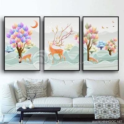 Tranh bộ 3 bức cành cây sắc màu và hươu-PLT-S-1363