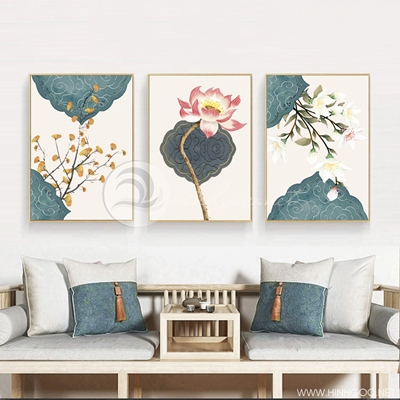 Tranh bộ 3 bức hoa sen và cành hoa nở-PLT-S-1369