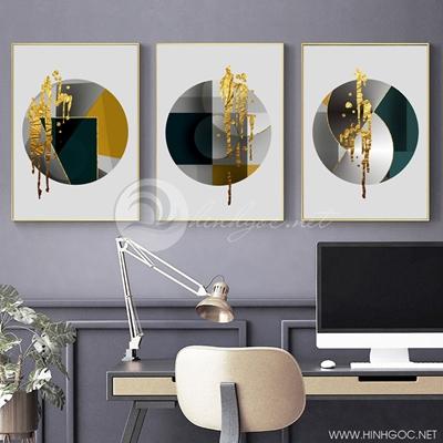 Tranh bộ 3 bức tranh tròn trừu tượng -PLT-S-1375