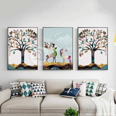 Tranh bộ 3 bức đôi hươu và cây tuần lộc sắc màu-PLT-S-1377