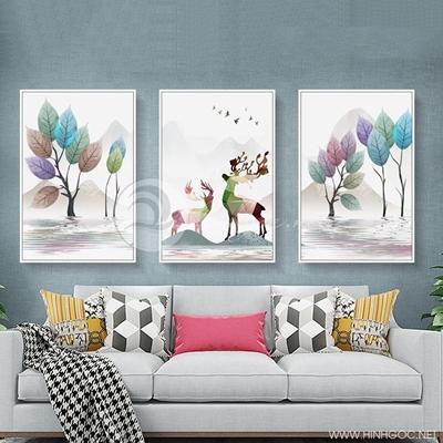 Tranh bộ 3 bức đôi hươu và cây lá tuần lộc sắc màu-PLT-S-1378