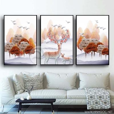 Tranh bộ 3 bức đôi hươu và cây lá tuần lộc sắc màu-PLT-S-1383