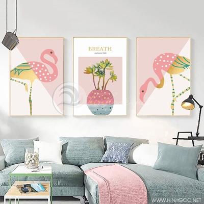 Tranh bộ 3 bức chim hông hạc, lọ hoa sắc màu-PLT-S-1389