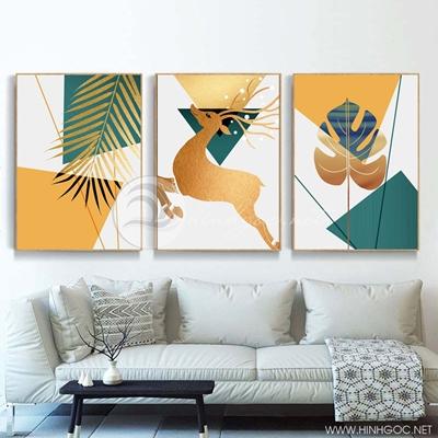 Tranh bộ 3 bức hươu chiếc lá vàng-PLT-S-1397