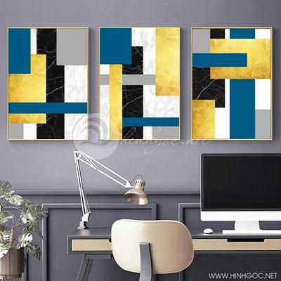 Tranh bộ 3 bức trừu tượng sắc màu-PLT-S-1406