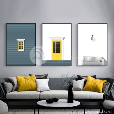 Tranh bộ 3 bức khung cửa sổ trắng vàng-PLT-S-1414