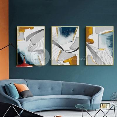 Tranh bộ 3 bức trừu tượng sắc màu-PLT-S-1415