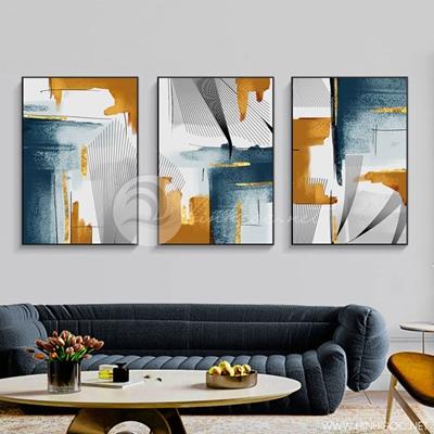 Tranh bộ 3 bức trừu tượng sắc màu và hình sọc-PLT-S-1417
