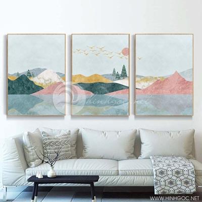 Tranh bộ 3 bức trừu tượng dãy núi trùng điệp sắc màu-PLT-S-1419