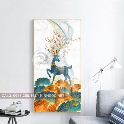 Tranh treo tường, con hươu xanh sừng hoa đứng trên lá họa tiết-PLT-S-1433