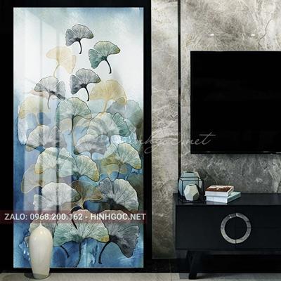 Tranh treo tường, hươu, cành lá sắc màu nghệ thuật-PLT-S-1512