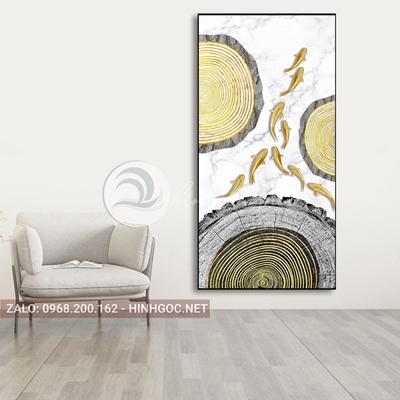 Tranh cửu ngư quần hội, đàn cá vàng, hình tròn họa tiết-PLT-S-1546