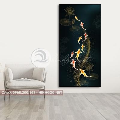 Tranh cửu ngư quần hội, cá chép hoa sen nghệ thuật-PLT-S-1554