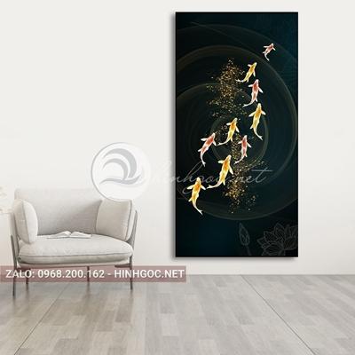 Tranh cửu ngư quần hội, cá chép, hình xoắn nghệ thuật-PLT-S-1555