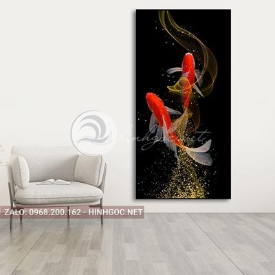 Tranh đôi cá chép vàng nghệ thuật-PLT-S-1560