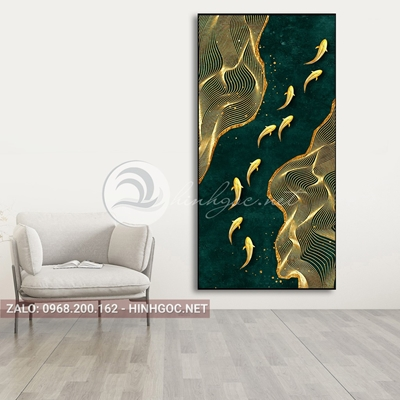 Tranh cửu ngư quần hội, cá chép, dải vân vàng kim nghệ thuật-PLT-S-1561