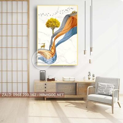 Tranh treo tường, hươu đứng trên dải vân, cây, chim nghệ thuật-PLT-S-1566