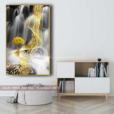 Tranh treo tường, đàn cá vàng, dải vân nghệ thuật-PLT-S-1577