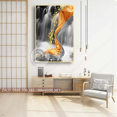 Tranh treo tường, đàn cá vàng, dải vân nghệ thuật-PLT-S-1578